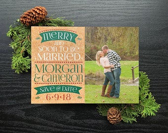 Merry and Soon to Be Married Save the Date • Holiday Save the Date • Christmas Save the Dates • Save the Date • Christmas • Printed kraft