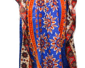 Plus Size Abstract Ethnic Floral Summer Print Drawstring Batwing Sleeve Kaftan Blue
