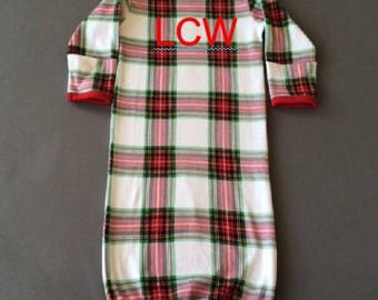 Plaid Organic Cotton Baby Gown/Baby Gift/New Baby