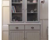 Vintage Glazed Painted Bookcase Dresser Grey Kitchen Display Cabinet Unit