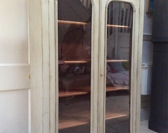 Antique Victorian Glazed Painted Bookcase Display Cabinet Cupboard Light Grey