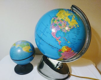 Mid Century Light Up Globe Bonus Metal Globe
