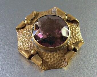 Victorian Amethyst Brooch, Art & Crafts Hammered Brass, Purple Glass Sash Pin