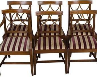 Regency Style Set of Six Mahogany Dining Room Chairs