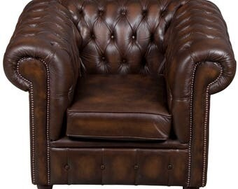 Vintage Tufted Brown Leather Club Chair