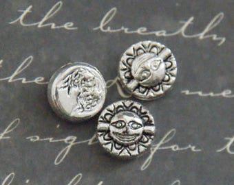 5 beads flat Sunburst silver 8x4mm