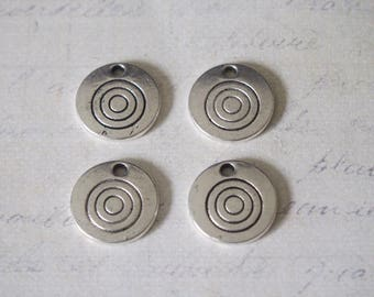2 round charms and massive 15mm silver metal spiral