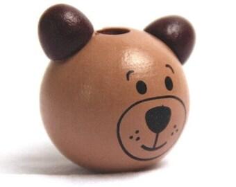 Teddy bear chocolate 29x25mm wooden bead