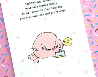 birthday blobfish - birthday card - blobfish - funny card - poem card - birthday