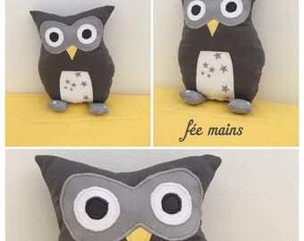 Plush or plush OWL or OWL grey and White Star unique and original handmade gift