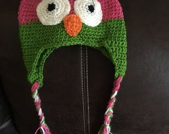 Baby girl owl crochet hat