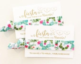 Watercolor Cactus Hair Tie Favors | Fiesta Bachelorette Party Favors, Cactus Succulent Floral, Wedding + Bachelorette Party Hair Tie Favors