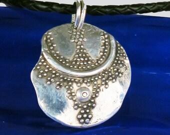 Fine Silver Granules Fragment Pendant - Tribal Design Fine Silver Necklace - Archeological Fragment Fine Silver Granules Pendant Gift