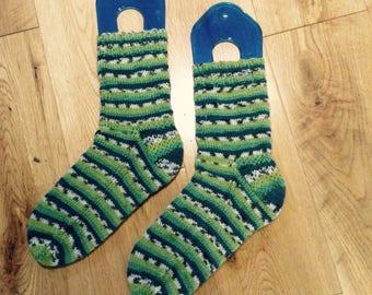 Hand knit green socks