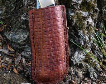 Buck 110 folding hunter friction sheath with belt loop, Buck custom leather sheath, folding knife case, pocket knife leather case, Buck case