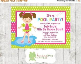 SALE Custom Printed Swimming Pool Birthday Party Invitations