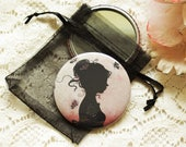 Pocket Mirror - retro mirror - illustrated mirror -silhouette - Tattoo Girl