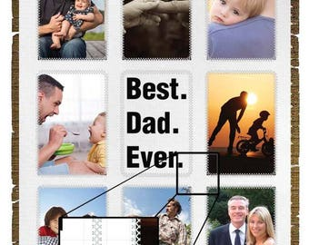 BEST DAD EVER Customized Blanket for Keepsake Memories Gift Anniversary Father Pops Mom
