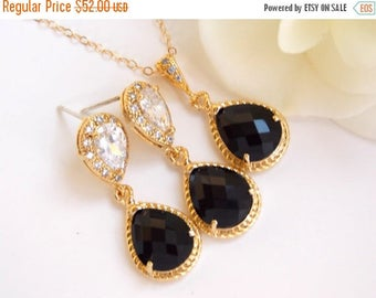 SALE Wedding Jewelry, Cubic Zirconia and Black Earrings and Necklace, Black Onix, Jet Black, Gold Filled, Bridal Jewelry, Bridesmaids Gifts,
