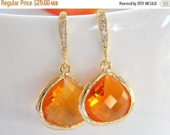 SALE Wedding Jewelry, Bridal, Gold Orange Earrings, Tangerine, Carnelian, Cubic Zirconia, Bridesmaid Jewelry, Bridesmaid Earrings, Dangle, G
