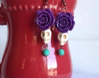 Dia de Los Muertos Earrings (purple) Style 1