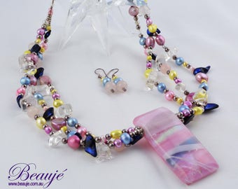 Pink and blue Necklace- Jewellery-Semi Precious-Gemstone-Necklace & Earrings-Handmade-Beauje-Jewelry-Dichroic-Beaded-Statement necklace