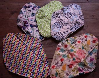 Kit lot 5 large night/postpartum/flow very important, standard, washable pads, organic bamboo and PUL + 1 gift bag