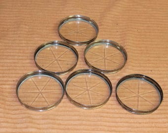 """6 Sterling Silver with cut glass coaster the coasters measure 3"""" in diameter and 1/2"""" high."""