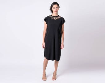 Womens Black Dress, Little Black Dress, Black Casual Dress, Black Office Dress, Womens Oversized Dress, Womens Clothing Black One Size Dress