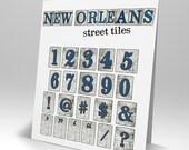 New Orleans Street Tiles Numbers Scrapbooking Digital Symbols