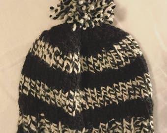 Striped Pom Pom Hat