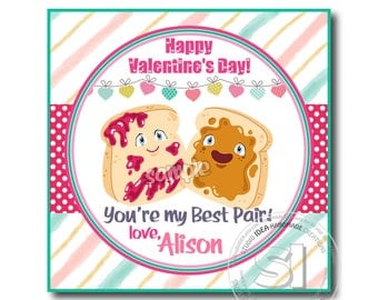 "Valentine's Best Pair 2.5"" Printable Square Tags-Happy Valentines Personalized Tags, Valentine's funny 2.5""tags -Stickers (You Print)"