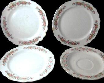 Vintage Lido W S George White Bread Plate Set, Primitive Home Decor Pieces, Collectible Dinner Plates, Vintage China Plates, Primitive Plate