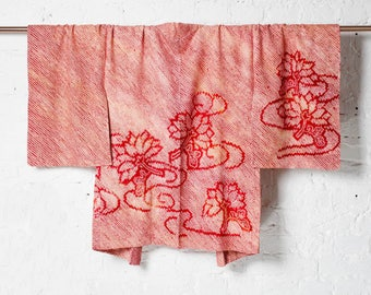 Vintage 100% Silk Japanese Kimono Jacket Haori with Two Color Shibori Floral Art
