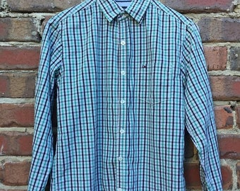 ON SALE Tommy Hilfiger Check Long Sleeve Shirt Green and Black