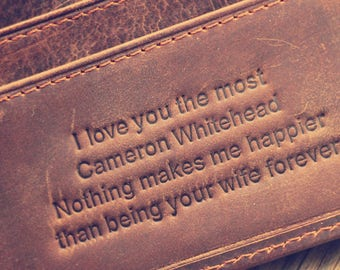 Personalized Wallet; Full Grain Leather Wallet; Daddy Gift; Christmas Wallet; Graduation Gift; Men's Wallet; Groomsmen Gifts; New Year