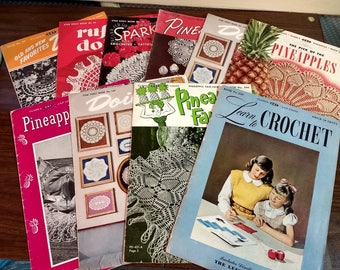 10 Vintage Crochet Pattern Books from 40's and 50's