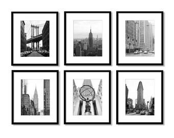 SALE, New York Print Set, New York Photography, black and white, Bridge, Skyline, taxi, Gallery Wall, New York Wall Art, Vertical, Set of 6