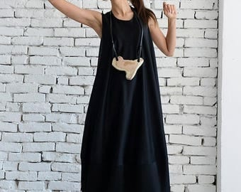 SALE Black Long Dress / Black Maxi Dress / Kaftan / Sleeveless Loose Dress / Black Casual Dress by METAMORPHOZA