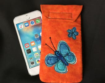 iPhone 6/7 case, Quilted case, medium size Smart phone case, Gadget case. medium phone pouch, iPhone 6/7 bag,eyeglass, cell phone case 6#30