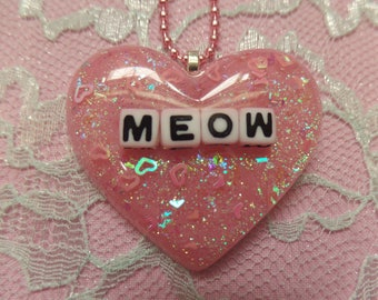 Kawaii Meow Resin Heart Necklace