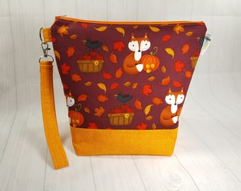 Fall Foxes, Medium Knitting Project Bag, Medium Zippered Wedge Bag, Zipper Bag, Shawl Project Bag WM0033