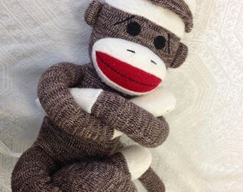 Adorable Schylling Rowley Brown Red White Sock Stuffed Plush Monkey Toy Animal
