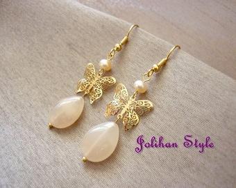 """Golden earrings """"Peach butterfly"""""""