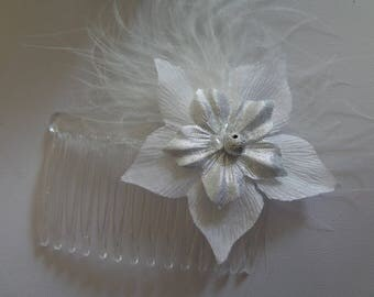 comb beaded feather white and gray wedding silk flowers