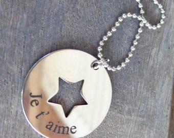 Star Medal necklace I love you