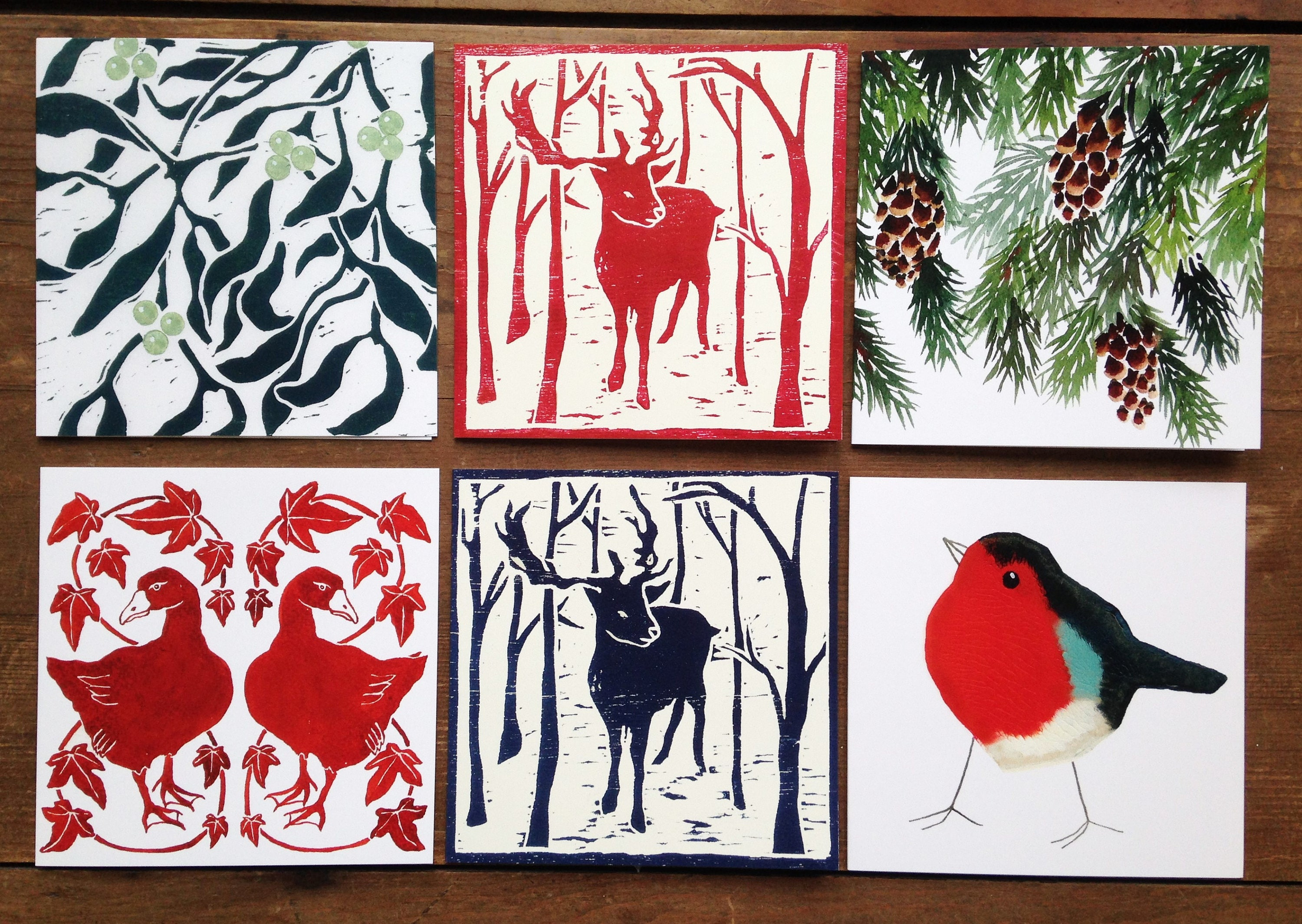 Christmas Card Pack 6 Traditional Greetings Cards Woodblock Print