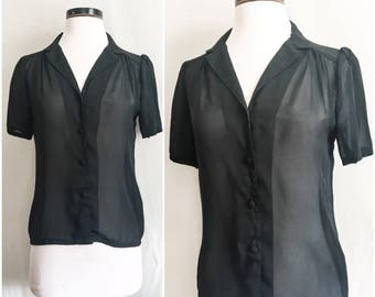 Vintage Black Chiffon Blouse // 60s Chiffon Blouse Sheer Top // 1960s Short Sleeve Button Up Blouse by California Trends // Size: Small