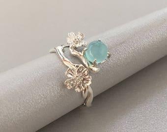 Chalcedony Ring / Sakura Ring / Sterling Silver Cherry Blossoms Ring / Flower sterling silver ring / Cherry blossom ring
