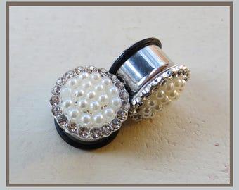 """Vanilla Glow Pearl Rhinestone Wedding EAR TUNNEL PLUGS stainless steel earrings gauge size  2g 0g 00g 1/2"""" 9/16"""" aka 6mm 8mm 10mm 12mm 14mm"""
